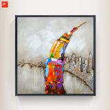 Décoration de style de dessin animé de la Tour Eiffel Tableau-mur Huile sur toile