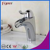 Torneira de misturador chapeada de Hot&Cold da água do Faucet de bronze de bacia de lavagem do banheiro de Fyeer cromo simples