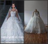 Reale Foto-Hochzeits-Kleid-Spitze-Tulle-abgestufte geschwollene Brautkleider G1729
