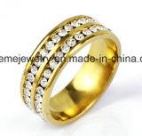 Shineme Schmucksache-Doppelt-Reihe entsteint Edelstahl-Gold überzogenen Ring (CZR2571)