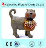 Estatuillas lindas del gato de la decoración de interior hecha a mano moderna de la resina