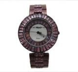 Reloj de lujo del cuarzo del diamante de señora reloj del encadenamiento de acero lleno de la pulsera