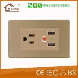 Acier inoxydable approuvé de la CE 2gang 2way plaqué de métal