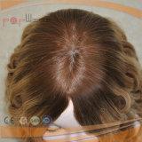 Doble mano atada Top trabajo rubio tipo de combinación de seda superior peluca de las mujeres