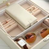 Большое поле ювелирных изделий из кожи фо с зеркалом цепочка Earring кольцо случае органайзера