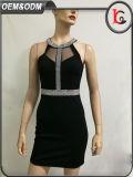 2017人の卸し売りデザイナー者パーティー向きのドレスの女性のセクシーで黒いホールターの網の女性Summer Dress