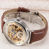 Esqueleto luxuoso especial inoxidável do seletor de Horloges Mannen Bigest do couro da safira do aço do relógio automático dos homens mecânicos