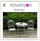 단철 의자를 가진 옥외 가구 테이블