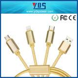 Напечатайте c на машинке 3 в 1 зарядном кабеле данным по Sync USB кабеля микро- для iPhone Samsung Apple