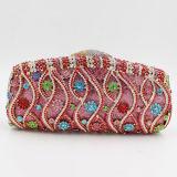 L'embrayage coloré de chaîne en métal de sac de soirée de Rhinestone de dames de mode plisse Leb749