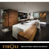 Шкафы верхнего сегмента естественные деревянные для кладовки кухни с нестандартной конструкцией Luxry Tivo-0193h