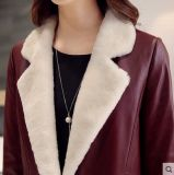 Long type de longue de Shearling de couche de noir couche en cuir de cuir pour le manteau de fourrure de femmes