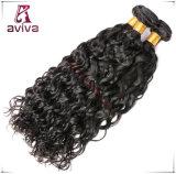 Noir normal de l'eau de Vierge de cheveu de double de prolonge de trame bouclée péruvienne de cheveux humains