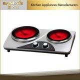 セリウムのRoHSの承認の赤外線炊事道具ES3206c二重バーナーの陶磁器のストーブ
