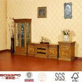 Il legno di vetro tradizionale antico ha incorniciato il basamento delle mensole TV del portello (GSP15-004)
