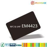 Carte EM4423 à double fréquence sans contact de la fréquence ultra-haute NFC de PVC d'IDENTIFICATION RF