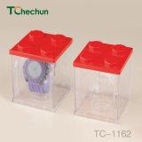 Beide Seiten und vier Seiten-transparentes Quadrat, zum des vorbildliche Uhr-Plastikkastens aufzubauen