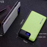 ABS PU Texture Travel Portable USB Power Bank avec câble de données