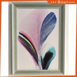 Pittura a olio della tela di canapa del pavone incorniciata parete moderna