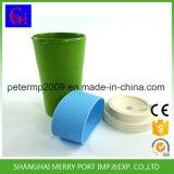 Mehrfachverwendbare Bambusfaser-Kaffeetasse mit Silikon-Kappe, Silikon-Gummi-Cup-Deckel