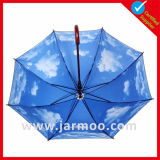 Costume que anuncia o guarda-chuva bonito do presente