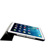 iPad를 위한 서 있기를 가진 가죽 지능적인 정제 상자
