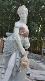 庭のStatueプールを持つ屋外の装飾の大理石の女性