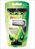 Neue dreifache Schaufel-Wegwerfgesicht, das Rasiermesser rasiert