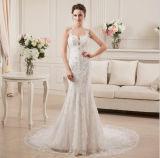 Spalte/Hülle, die Applique-seitliches Reißverschluss-Kapellen-Serien-Hochzeits-Kleid funkt