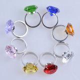 кольцо держателя салфетки диаманта металла кристаллический стекла 60mm зеленое
