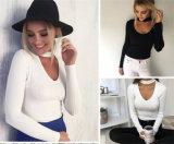 Camisola de confeção de malhas do fato da garganta grande nova da forma V para o pulôver das mulheres