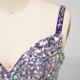 긴 신부 들러리는 스파게티 모조 다이아몬드에 의하여 구슬로 장식된 시퐁 결혼식 게스트 복장을 옷을 입는다