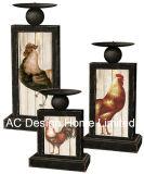 S/3 Galo e galinha Vintage Design de mobiliário em madeira MDF/metal retangular fina do adesivo de papel suporte para velas