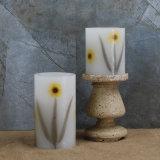 Paquete de 2 velas sin llama con pilas del pilar de la cera del modelo de flor LED