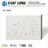Branco com alguns grãos de vidro de quartzo slabs para bancadas de cozinha