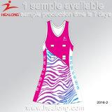 Изготовленный на заказ сублимация любая конструкция платья Netball женщин логоса