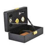 Hidromassagem de viagem Humidor de cigarro de couro inclui umidificador, higrómetro, cortador de sônicos, chave de latão e trava por Usgifts (preto)
