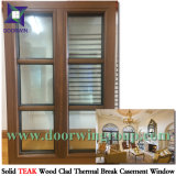 Finestra inclusa placcata di alluminio di legno solido di ultimo disegno, legno solido di alluminio Windows con gli otturatori/ciechi