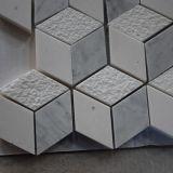 Ромбоподобная мраморный каменная плитка, плитка мозаики 3D, плитка мозаики Carrara белая для кухни