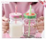 Choc de maçon transparent en gros pour la bouteille à lait en verre de boisson avec la couverture
