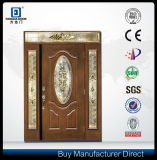 Hand Craftsmanship Real Wood Look Luxo Main House Front Fiberglass Door 2 Sidelites Brass Caming