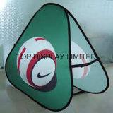 De kleurstof Sublamtion drukte de PromotieVertoning van de Gebeurtenis van Sporten Pop af Ovale Banner uit de Tentoonstelling van de Sporten van het Teken uit van de Reclame opduikt