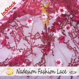 Tessuto trasparente all'ingrosso del merletto 3D per il vestito dalle donne