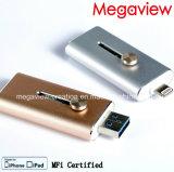 OTG с освещением и флэш-накопитель USB для iPhone и iPad с помощью сертифицированного Фги