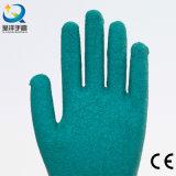 раковина хлопка 10g с перчатками работы безопасности отделки Crinkle латекса покрынными ладонью (L002)