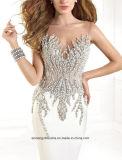 外装の軽くて柔らかいイブニング・ドレスのプロムの服に玉を付けている女性