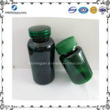 Botella plástica del animal doméstico verde al por mayor 200ml con el casquillo transparente