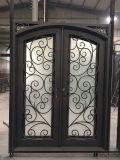 Porta de entrada dobro feita sob encomenda do ferro da melhor segurança elegante agradável da qualidade