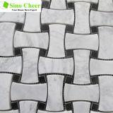 Mattonelle di mosaico di marmo bianche di disegno bianco dell'osso di Carrara