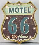 """포도 수확 훈장 앙티크는 """"경로 66 모텔 다방"""" 디자인 금속과 플라스틱 프레임 벽 장식 W/LED 빛을 돋을새김한다"""